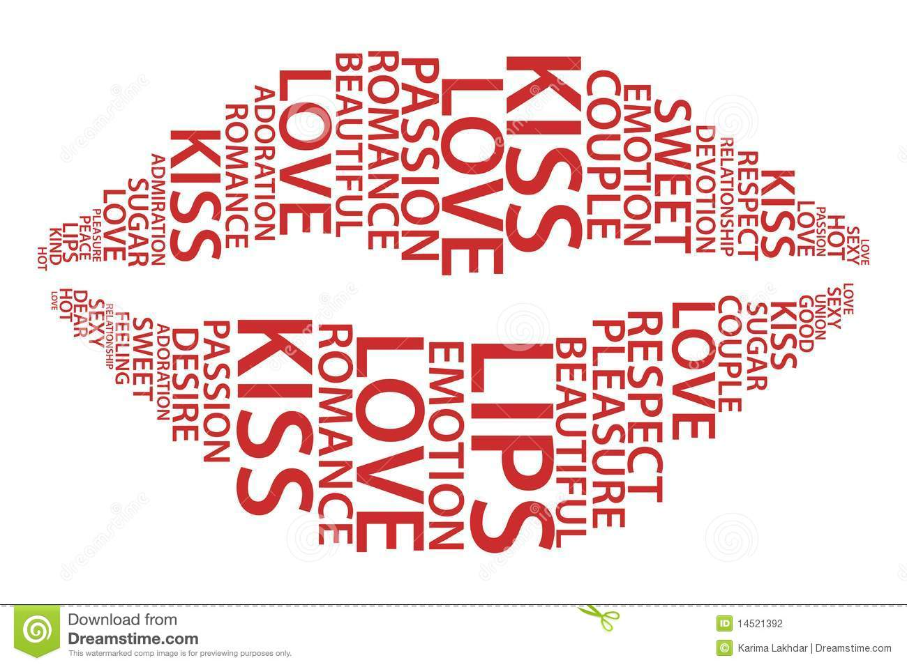 red lips with love words stock vector illustration of present