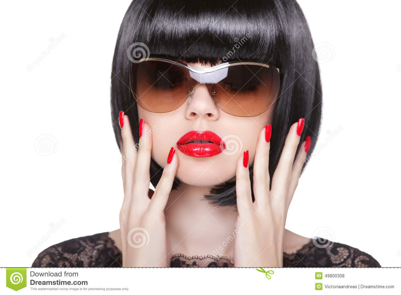 High Fashion Style, Manicure. Black Lips & Nails Stock ...