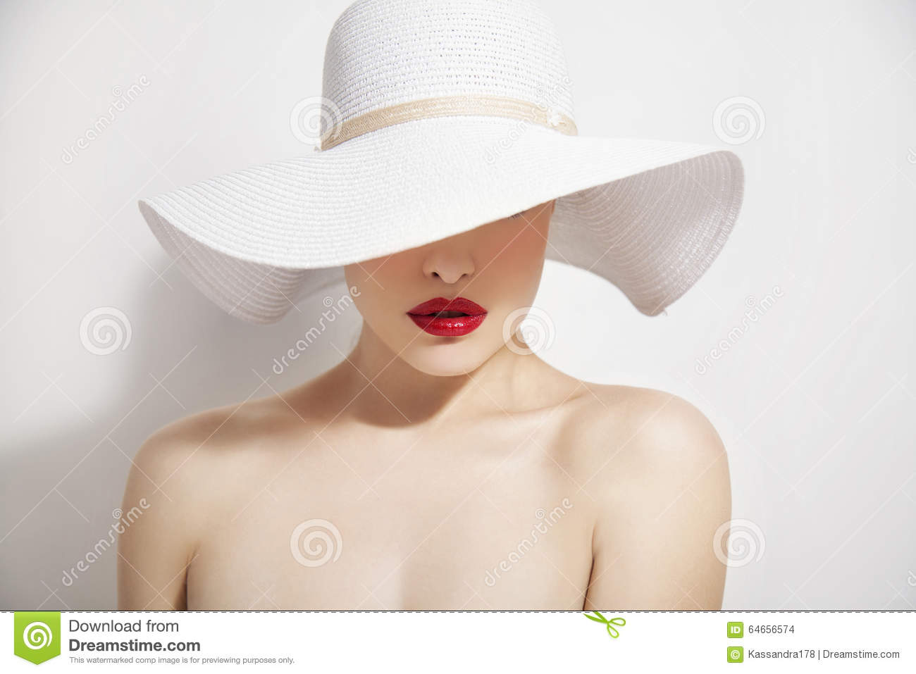 Red lips and white hat stock photo. Image of shopping - 64656574 f9856b38752
