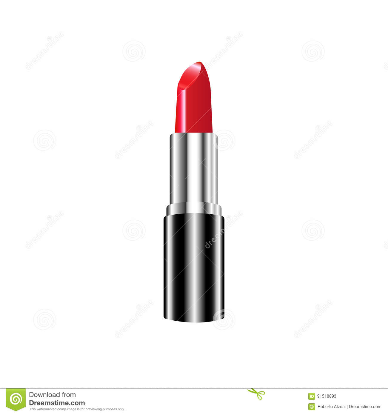 red lipstick makeup collection vector template isolated stock