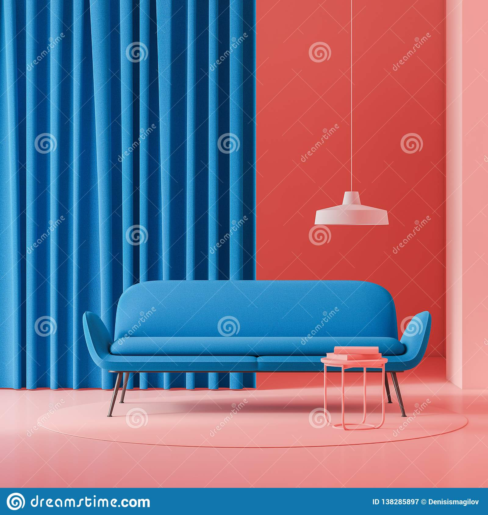 Red Living Room With Blue Sofa Stock Illustration Illustration Of Furniture Couch 138285897