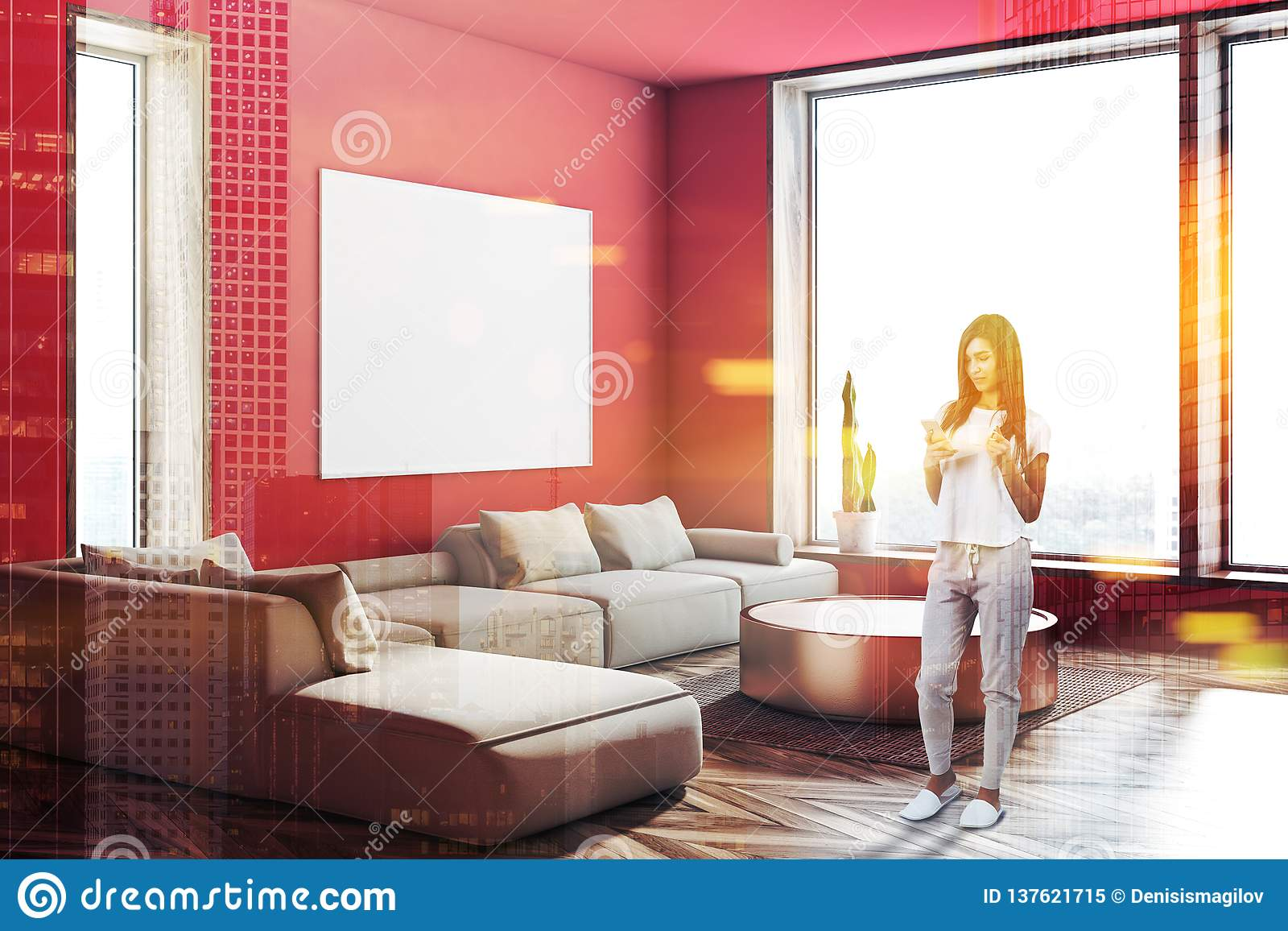 Marvelous Red Living Room Corner Sofa And Poster Woman Stock Image Caraccident5 Cool Chair Designs And Ideas Caraccident5Info