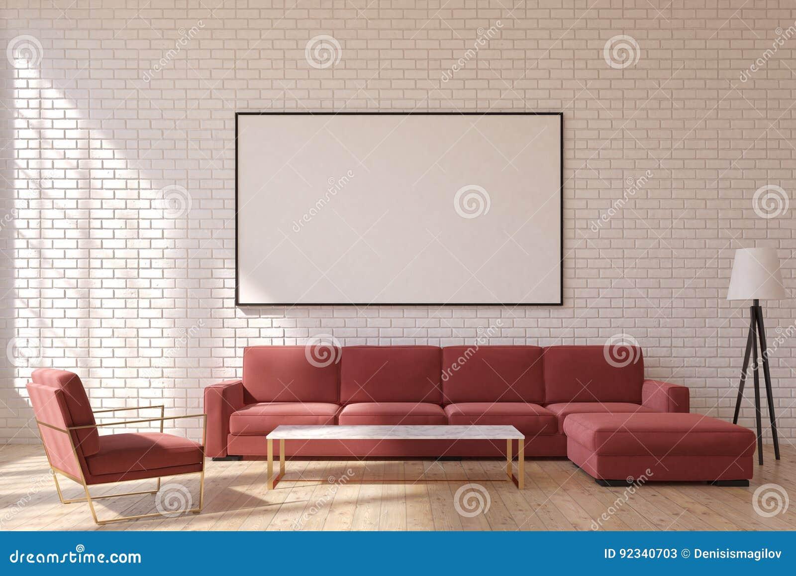 Red living room, front stock illustration. Illustration of ...