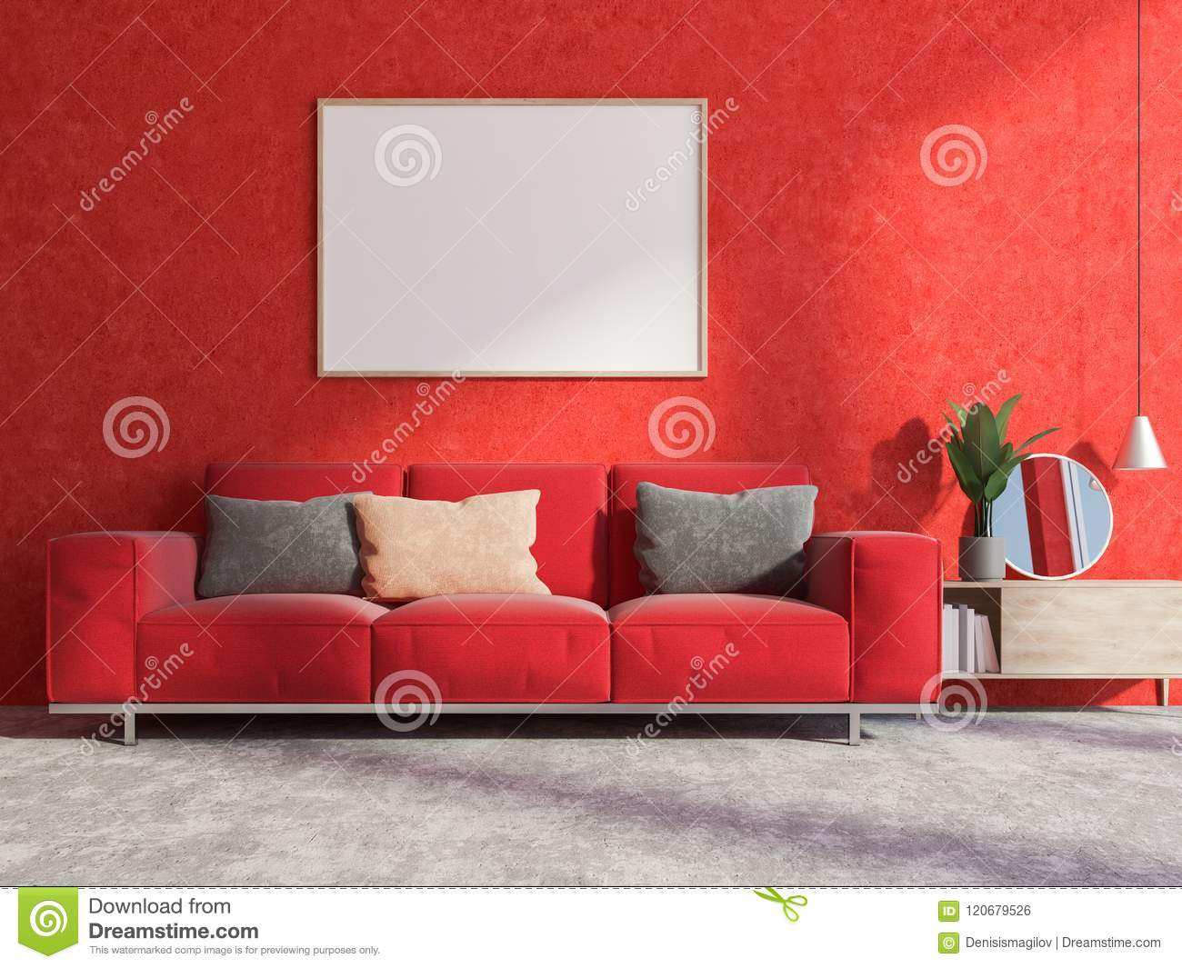 Red Wall Living Room Interior Sofa And Poster Stock