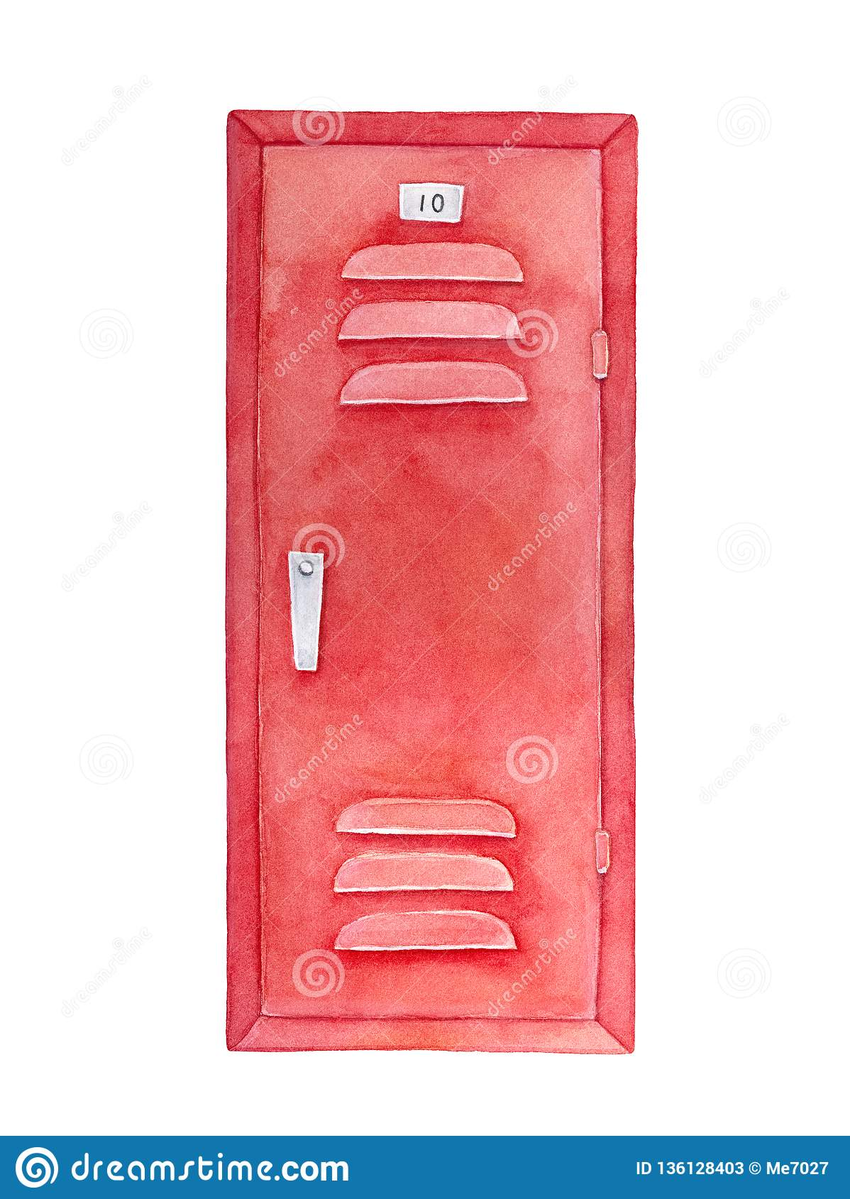 Red locker watercolour drawing. Furniture to leave things for storage.