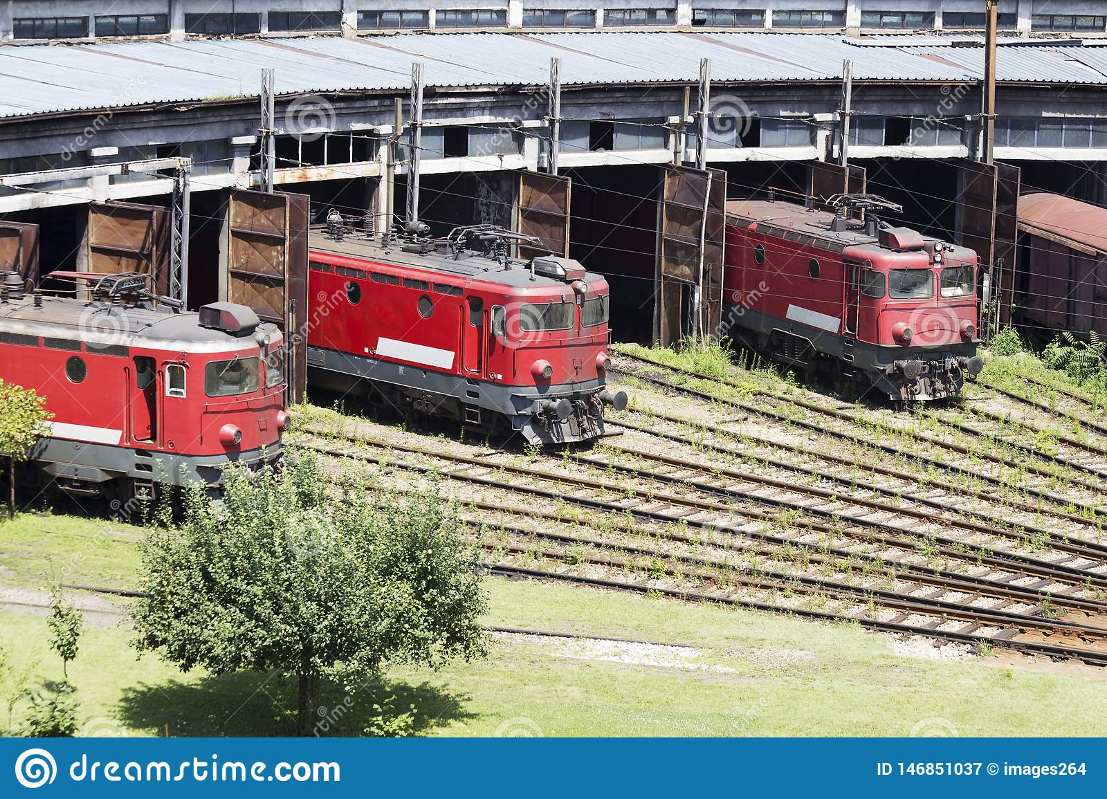 The red locomotives