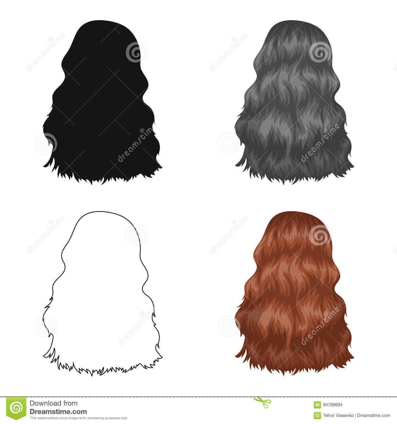 Red Long Backck Hairstyle Single Icon In Cartoon Style Vector