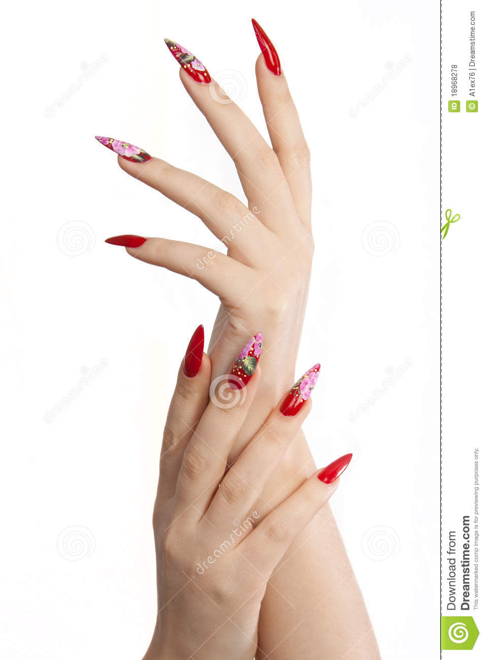 Red long nails stock photo. Image of female, background - 18968278