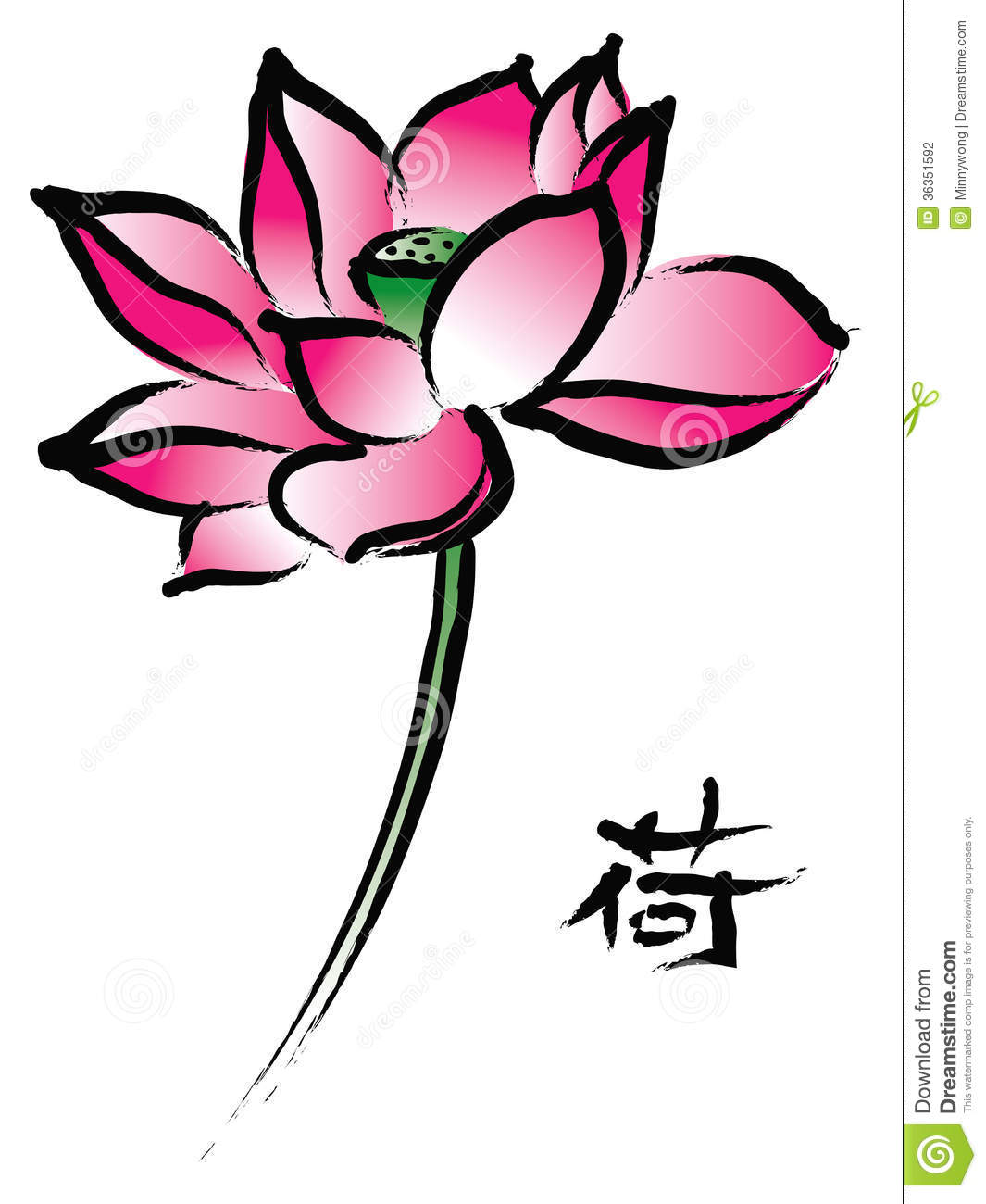 Chinese Flower Line Drawing : Red lotus in chinese painting style stock photography