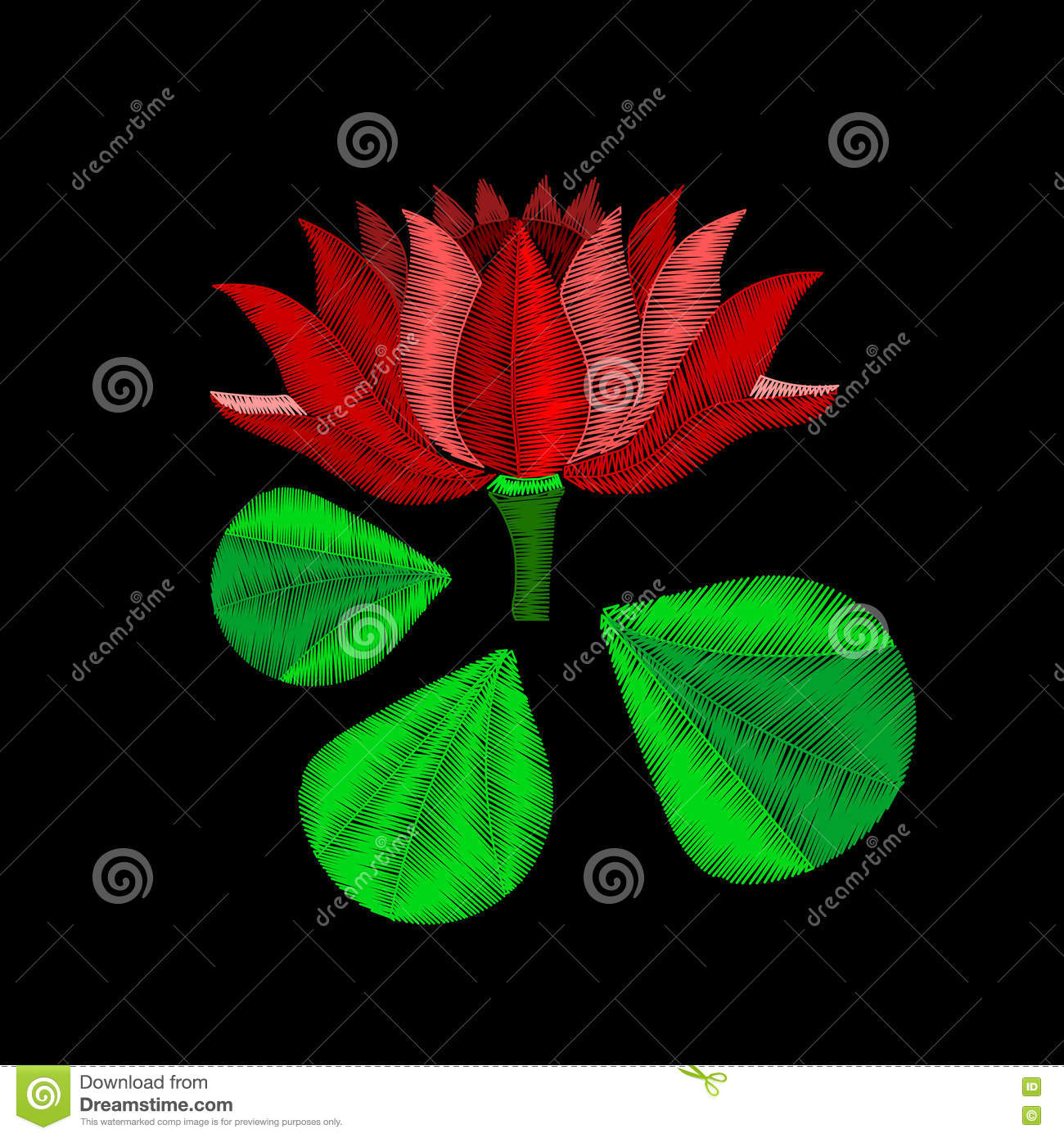 Red Lotus Flower Embroidery On Black Background You Can Use This