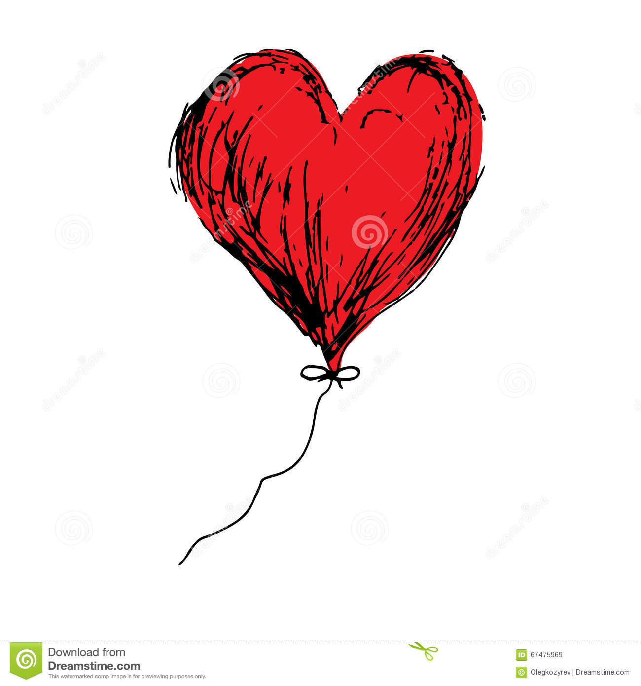 Red Love Balloon Heart Doodle Hand Drawing Vector Stock