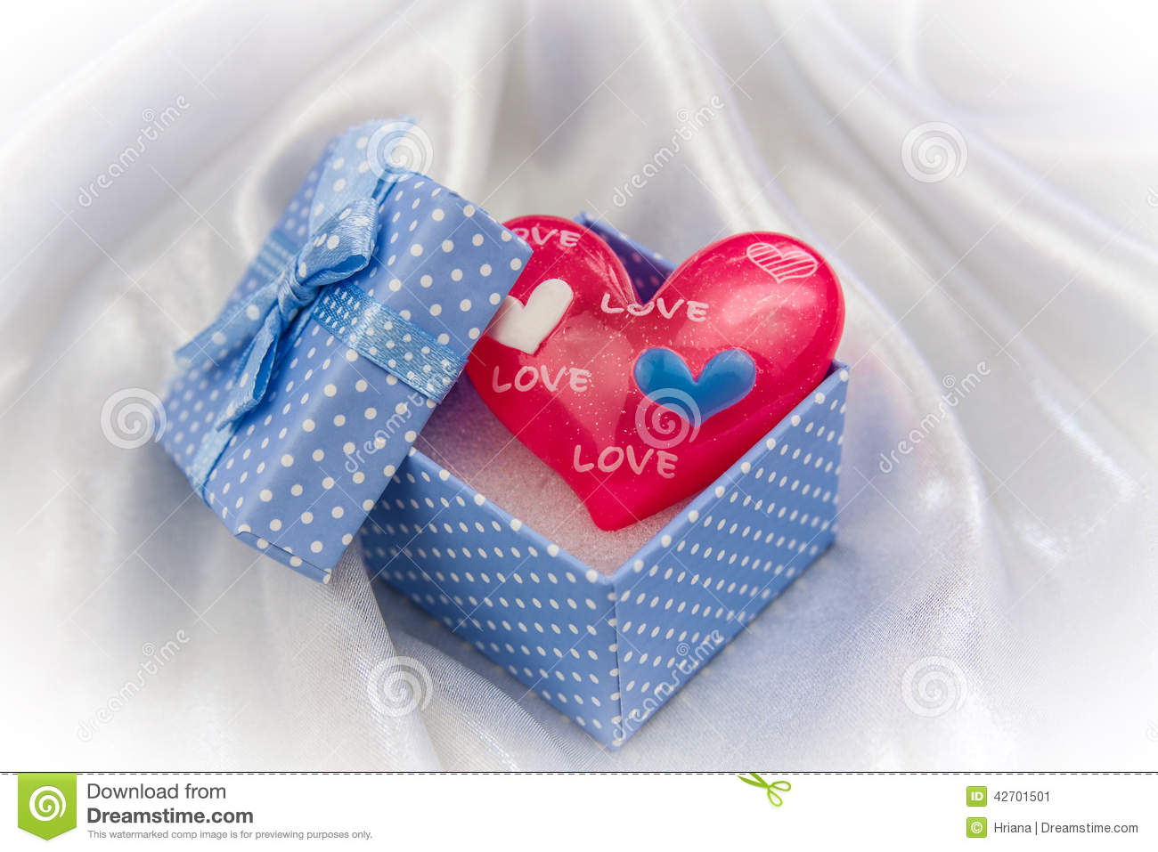 Red Love Heart In A Little Blue Gift Box Stock Image ...