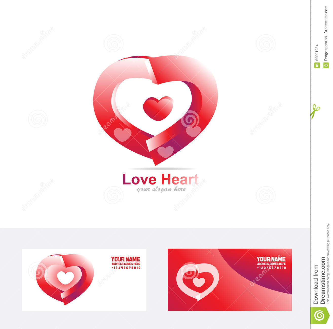 Red Love Heart Logo 3d Stock Vector - Image: 62091254