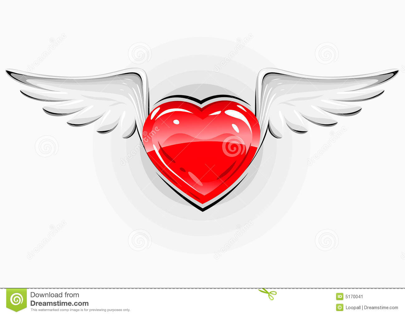 Red Love Heart With White Wings Stock Image - Image: 5170041