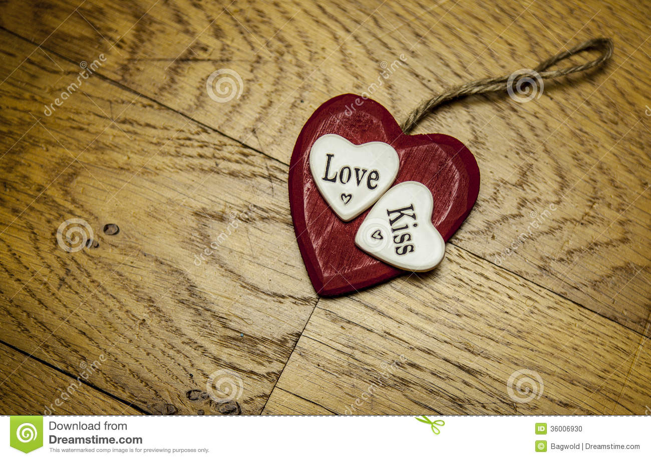 Red Love Heart On Wood Stock Photo