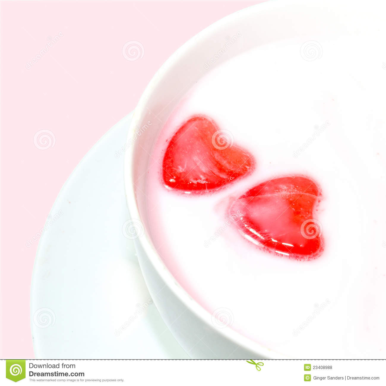 Red Love Hearts In Milk