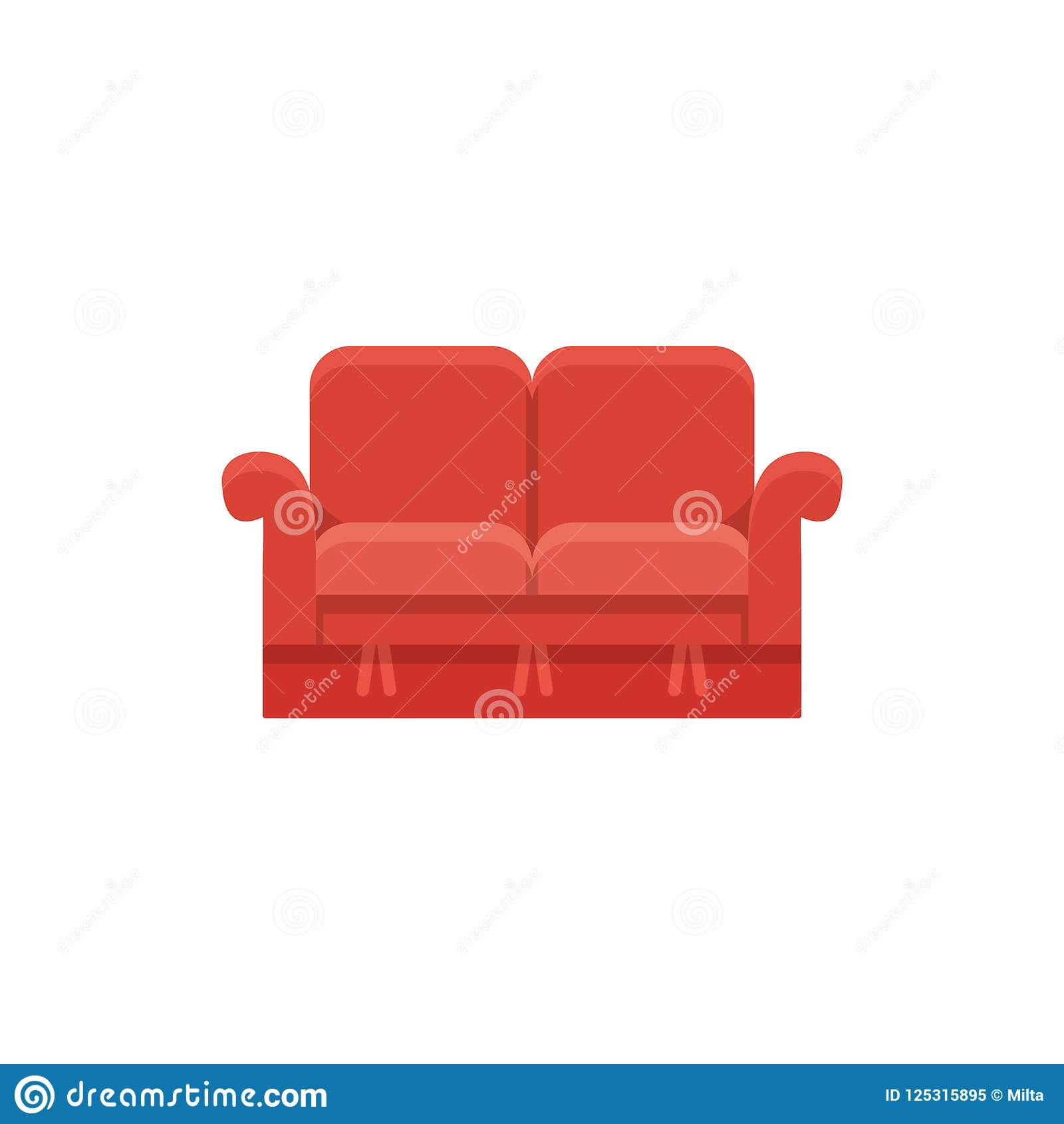 Red Loveseat Double Sofa Vector Illustration Flat Icon Of Set
