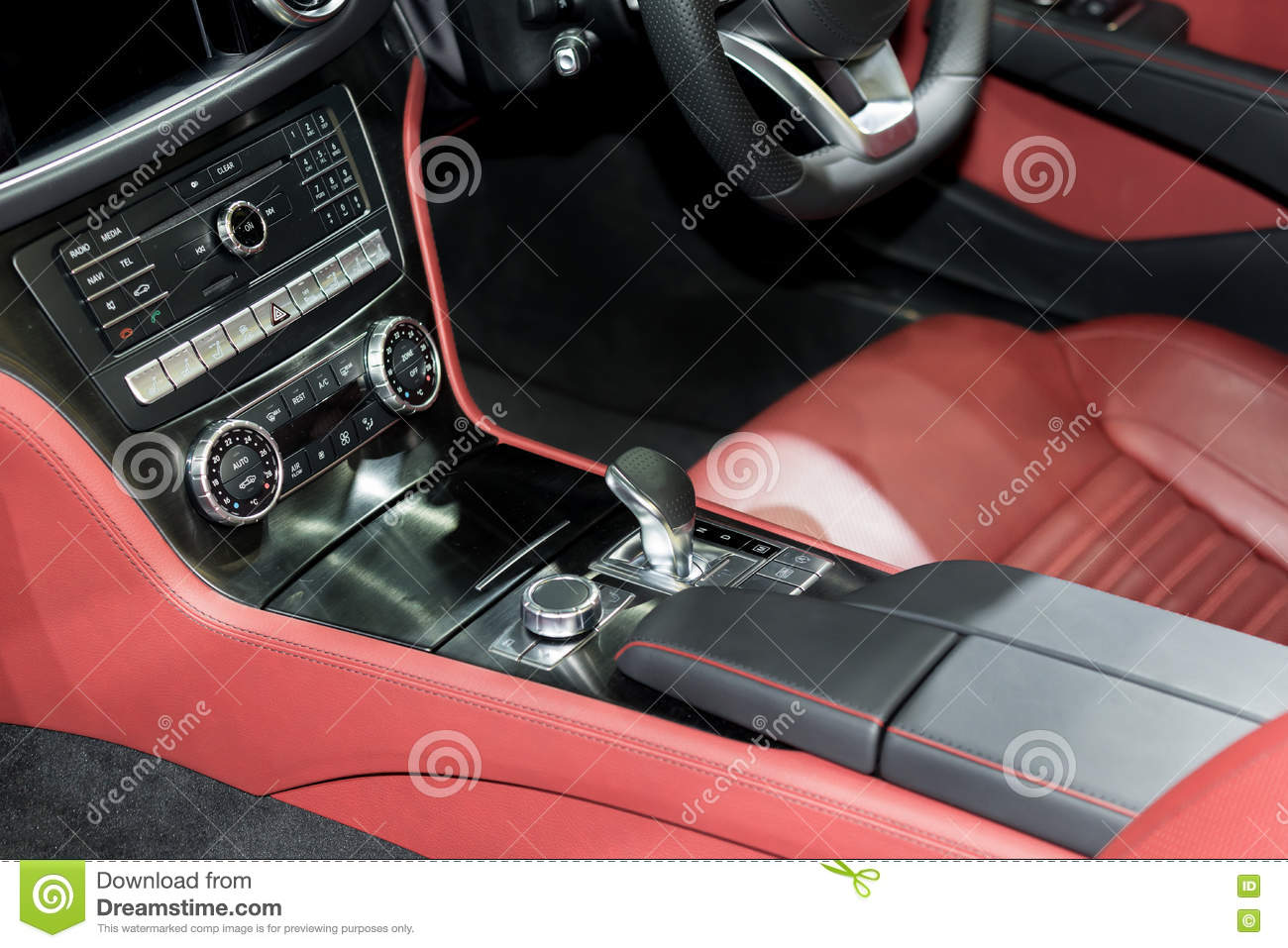red luxury car interior with steering wheel shift lever and air stock photo image 82134474. Black Bedroom Furniture Sets. Home Design Ideas