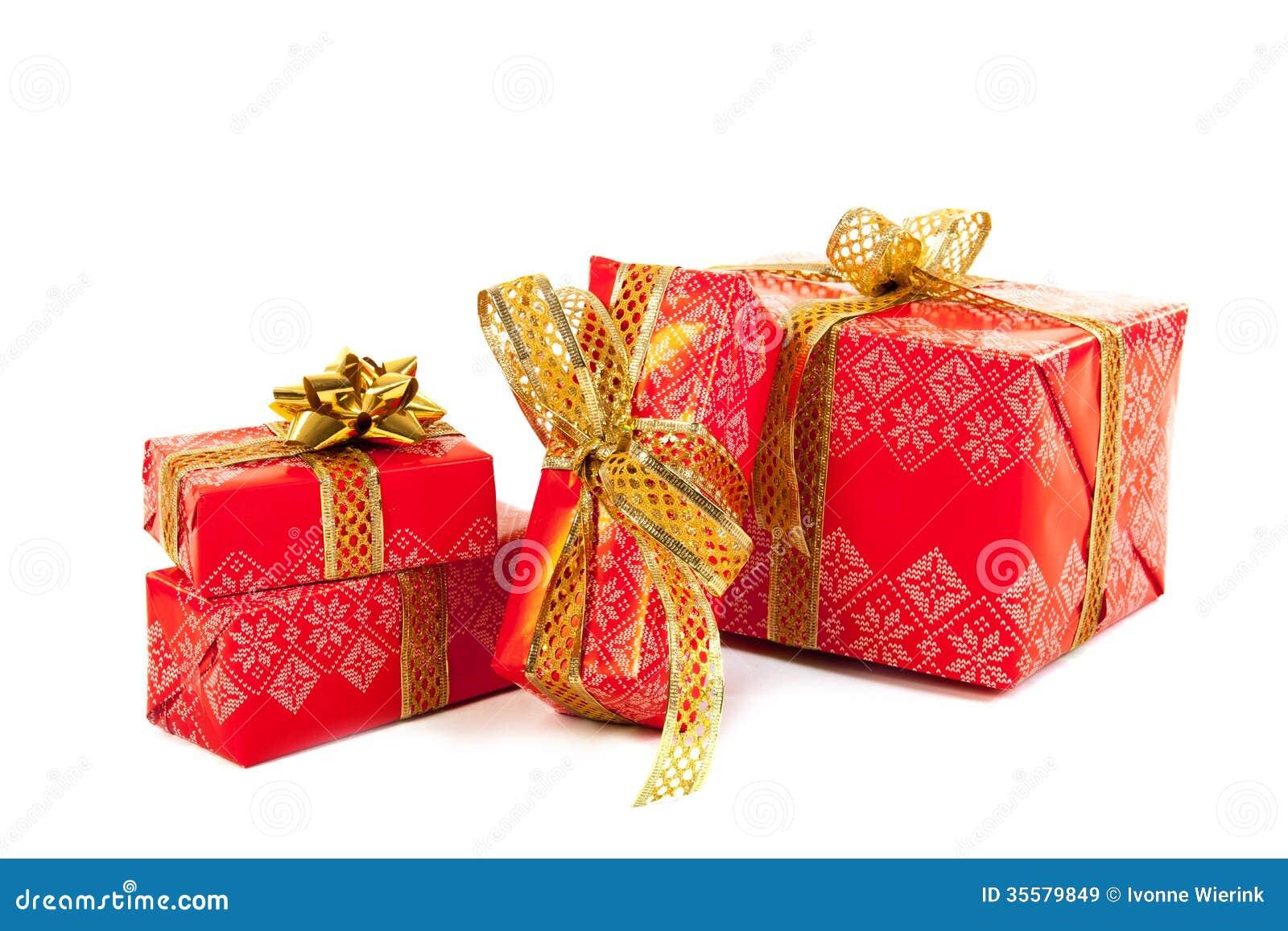 Luxury Xmas Gifts: Red Luxury Christmas Gifts Stock Image. Image Of Studio