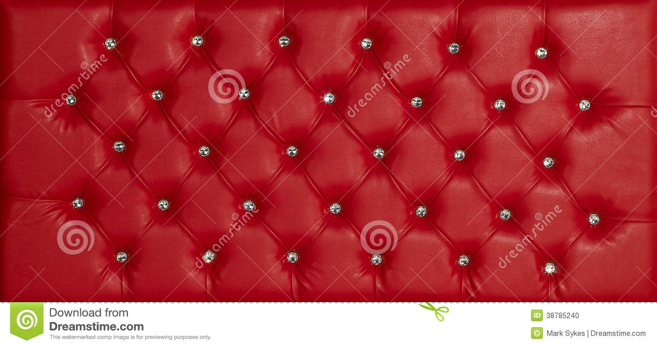 Red Luxury Leather Diamond Studded Background Stock Photo