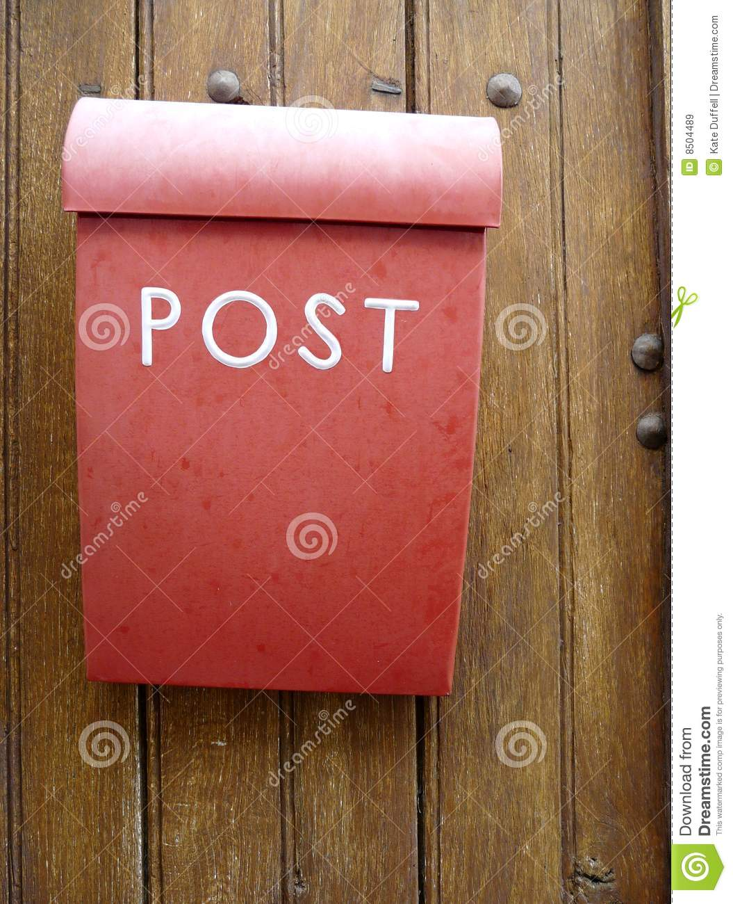 Superieur Download Red Mailbox On A Wooden Door Stock Image   Image Of Open, Metal: