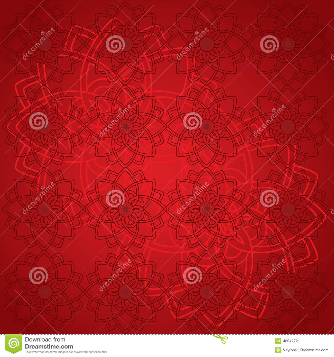 Red Mandala Wallpaper Stock Vector Illustration Of Pattern 46842721