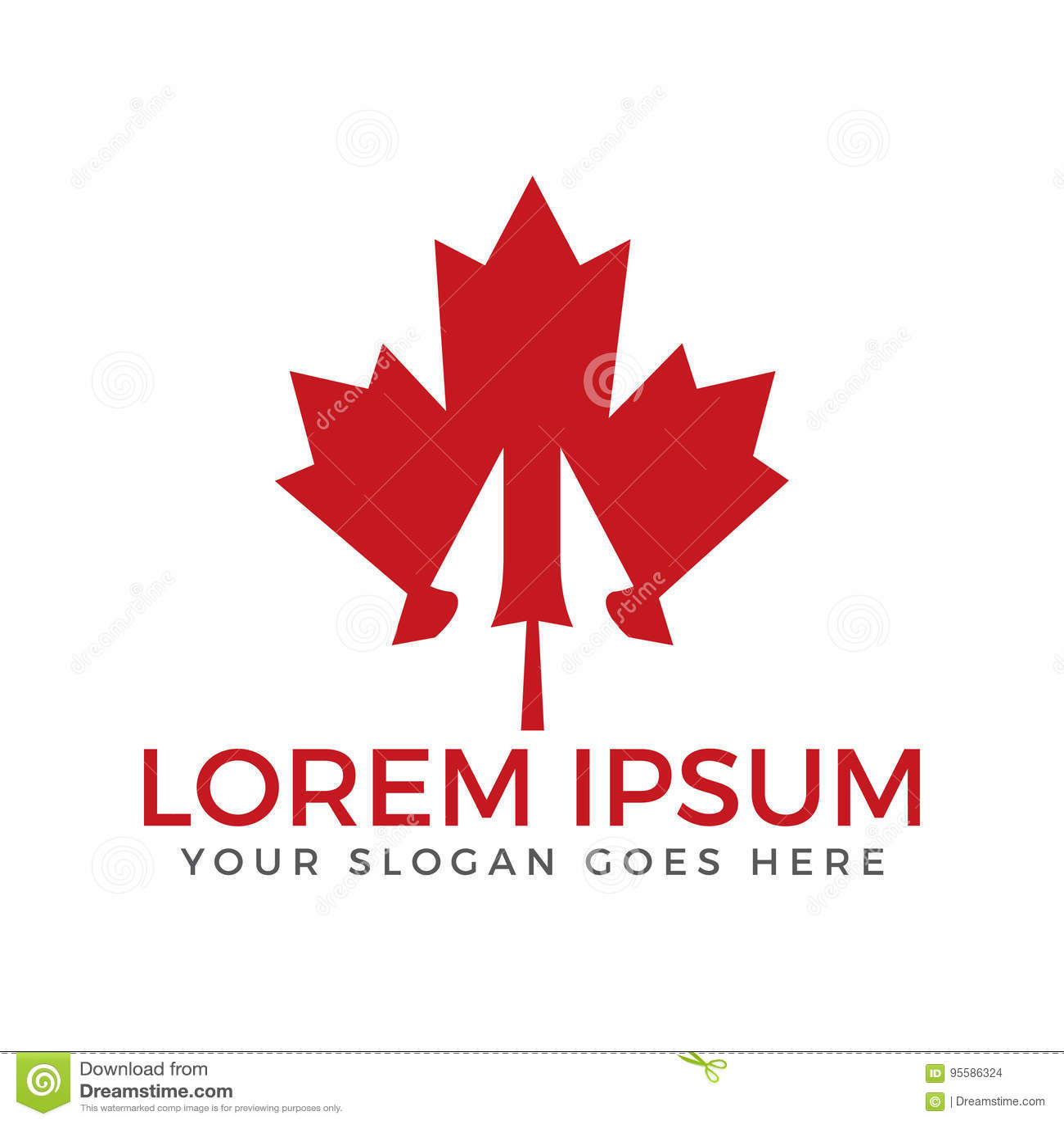 Red Maple Leaf Logo Design Stock Vector Illustration Of Element
