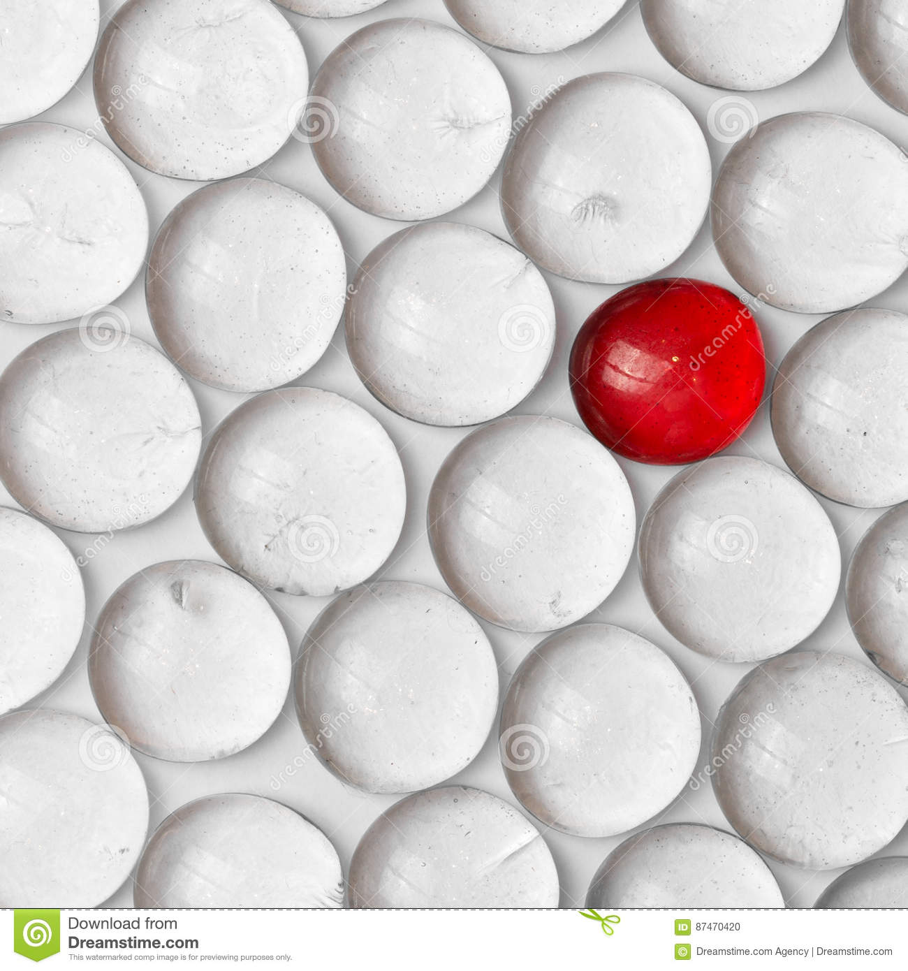 Download A Red Marble In A Crowd Of White Marbles Stock Photo - Image of game, marbles: 87470420