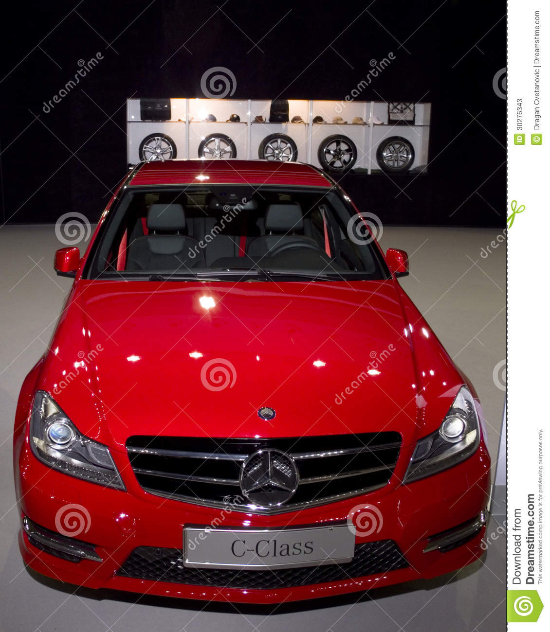 Red Car AMG Mercedes C-class Rims Options Editorial Stock