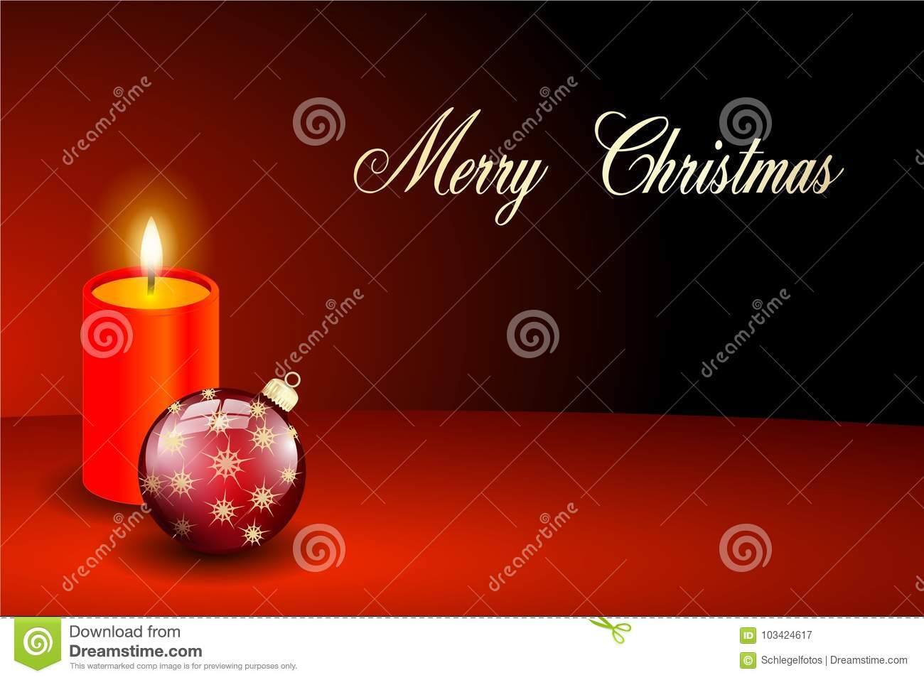 Red Merry Christmas Card Candlelight Stock Illustration