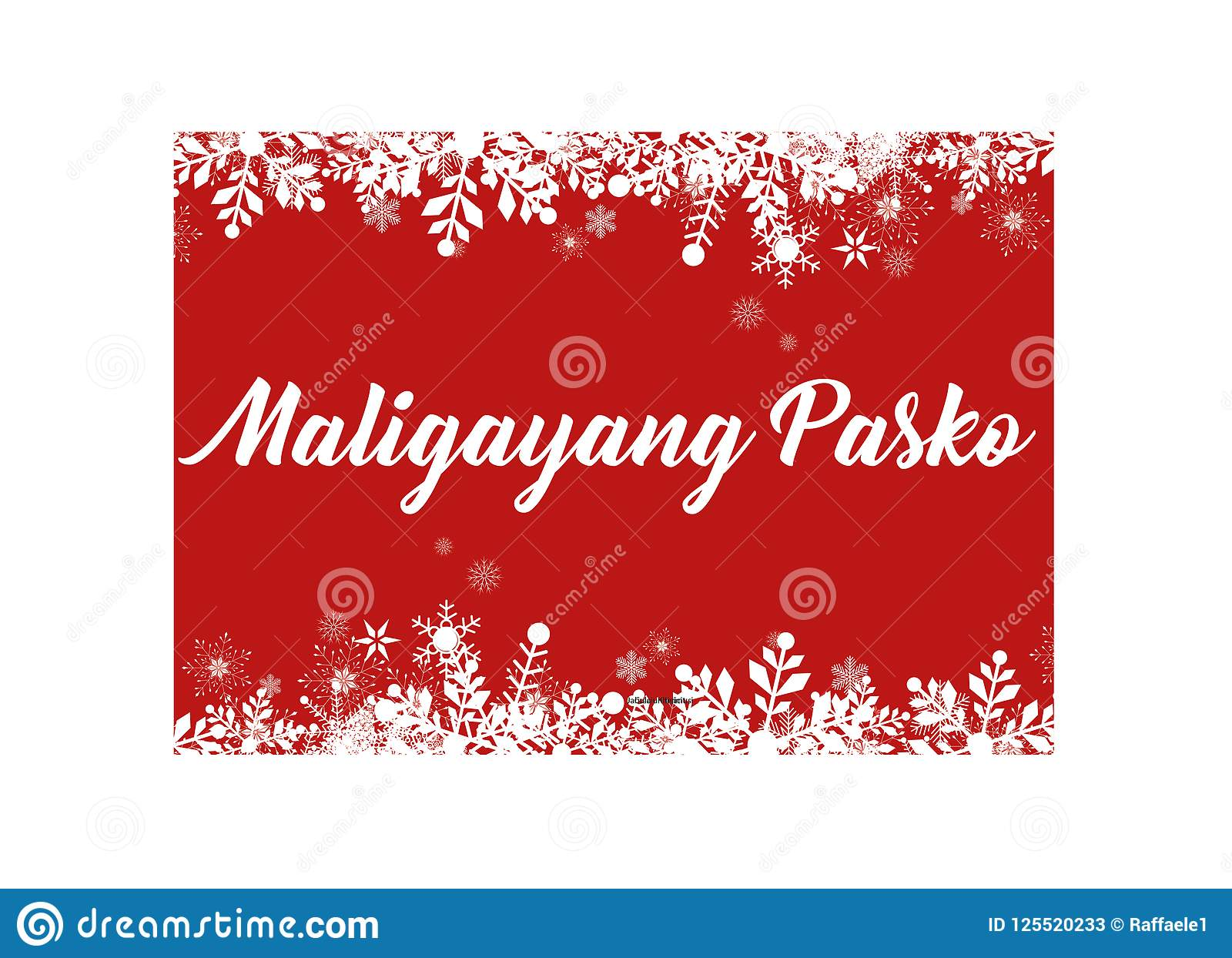 Merry Christmas In Tagalog.Red Merry Christmas In Filipino Greeting Card For Web And