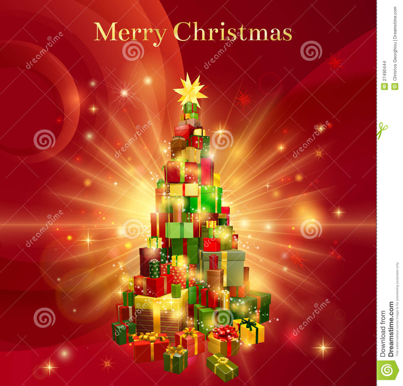 Red Merry Christmas Gift Tree Design Stock Images Image