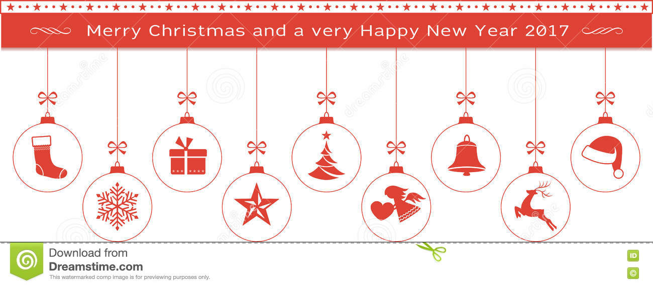 red merry christmas and happy new year border with hanging ornam