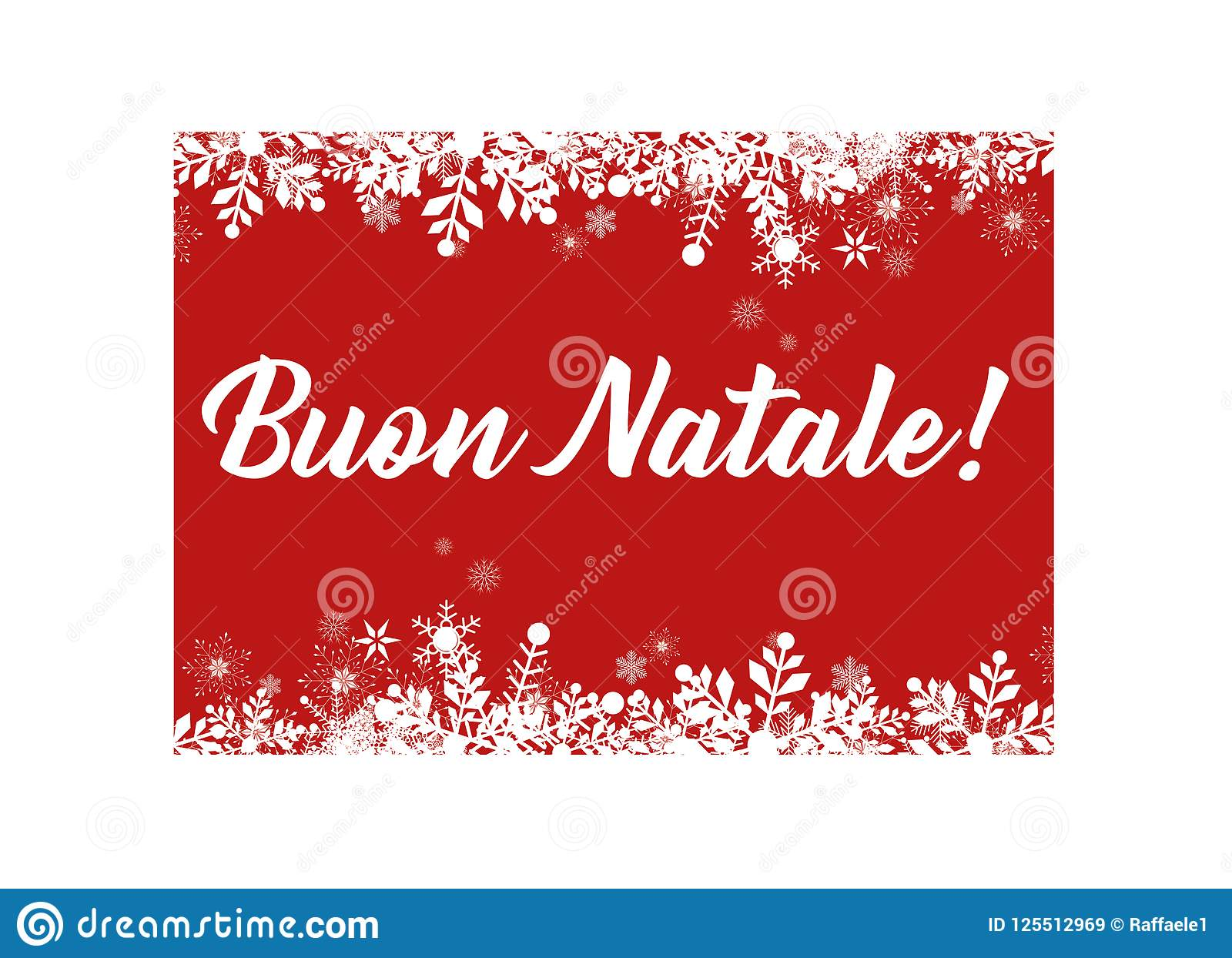 download red merry christmas in italian greeting card for web and print stock vector illustration - Merry Christmas Italian