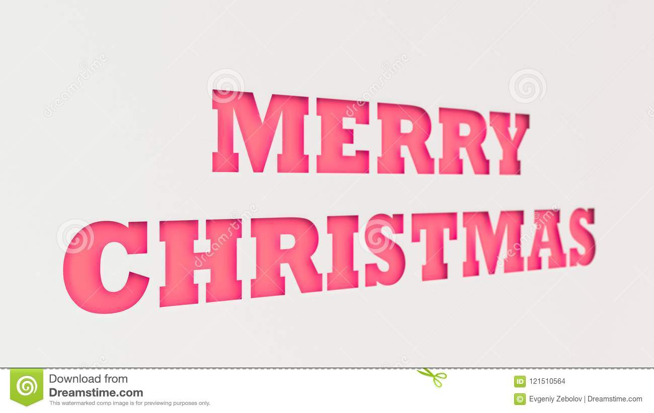 red merry christmas words cut in white paper - Merry Christmas Words