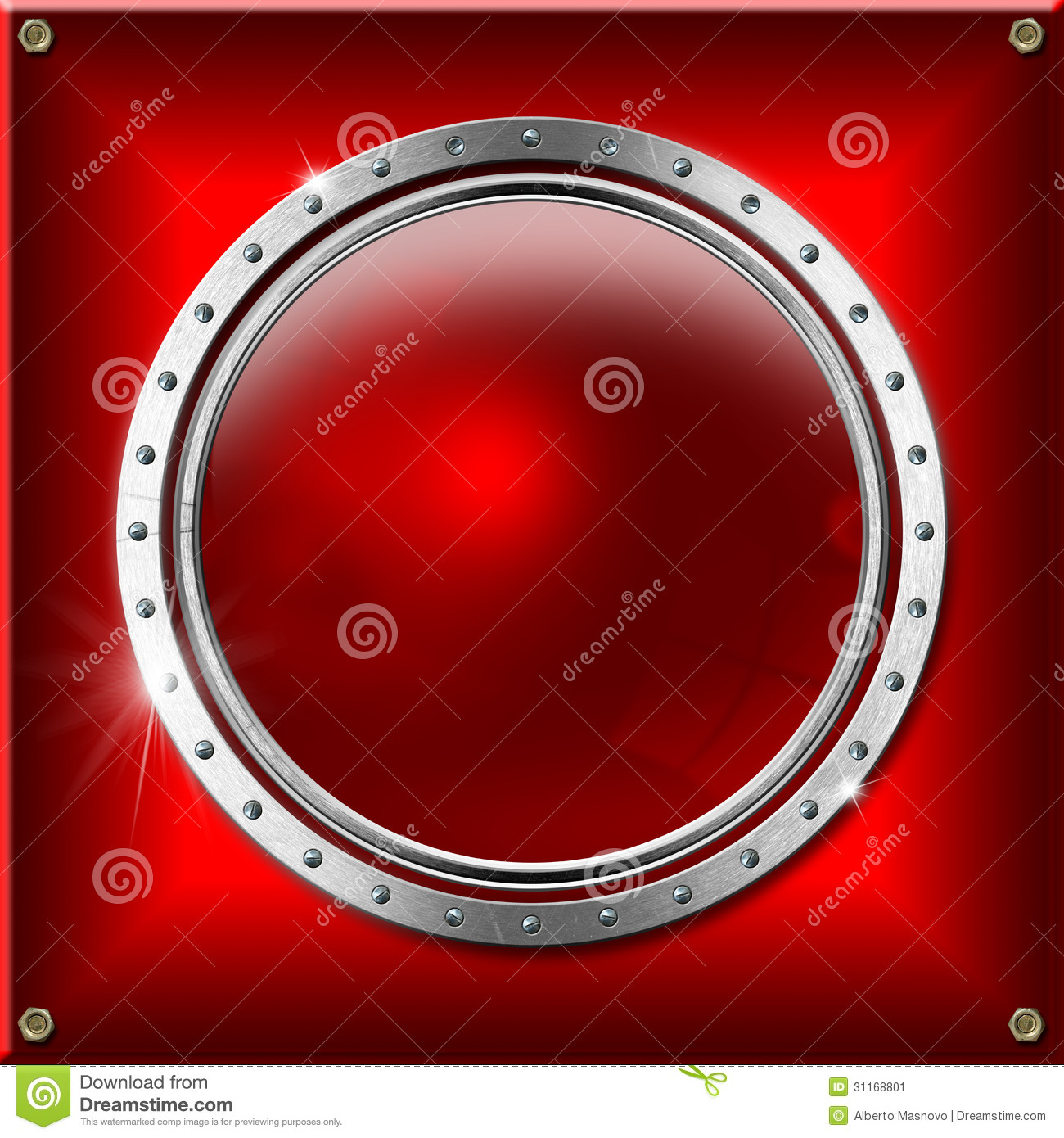 red and metal background with round banner stock image