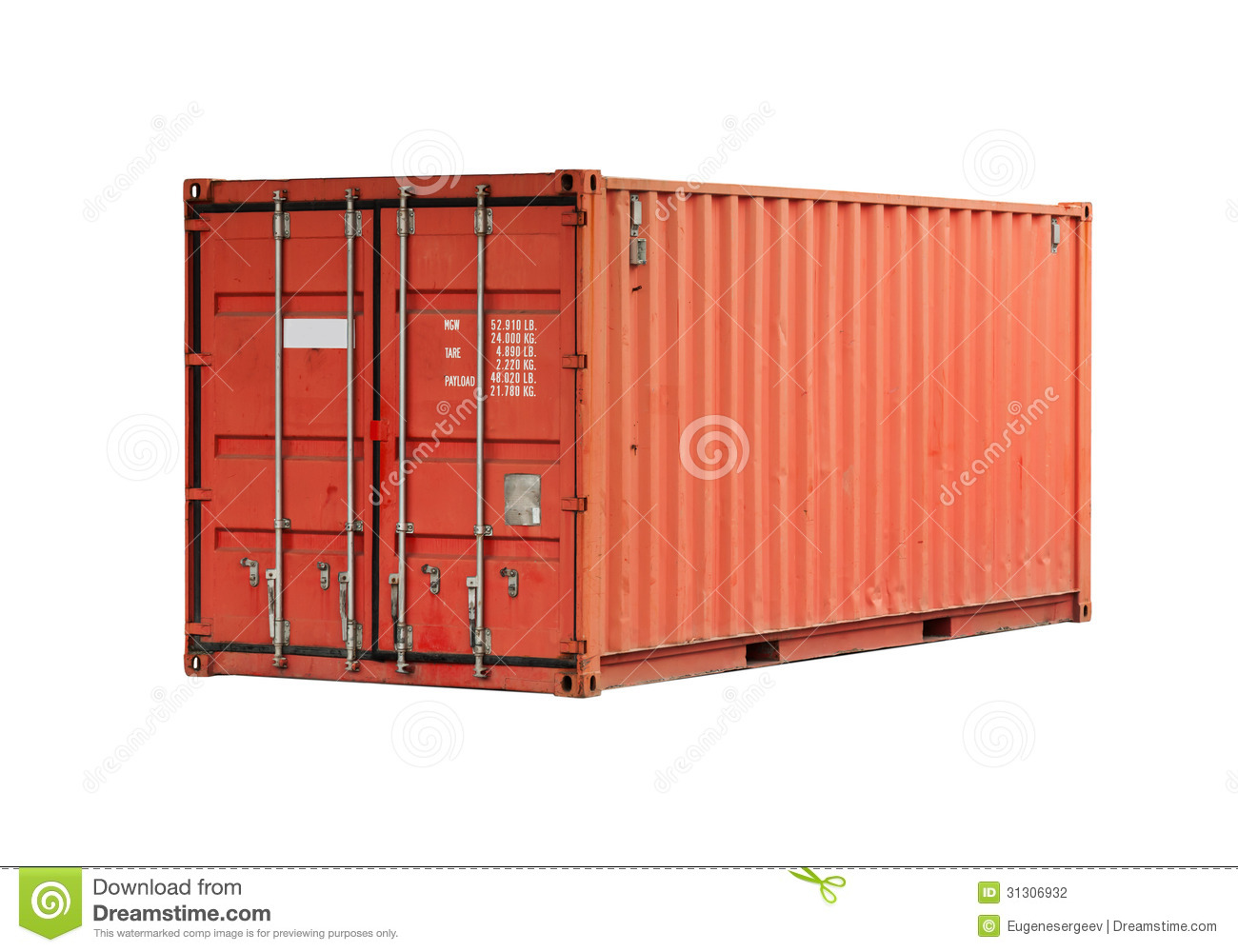 Red metal freight shipping container isolated stock photo for Metal shipping crate