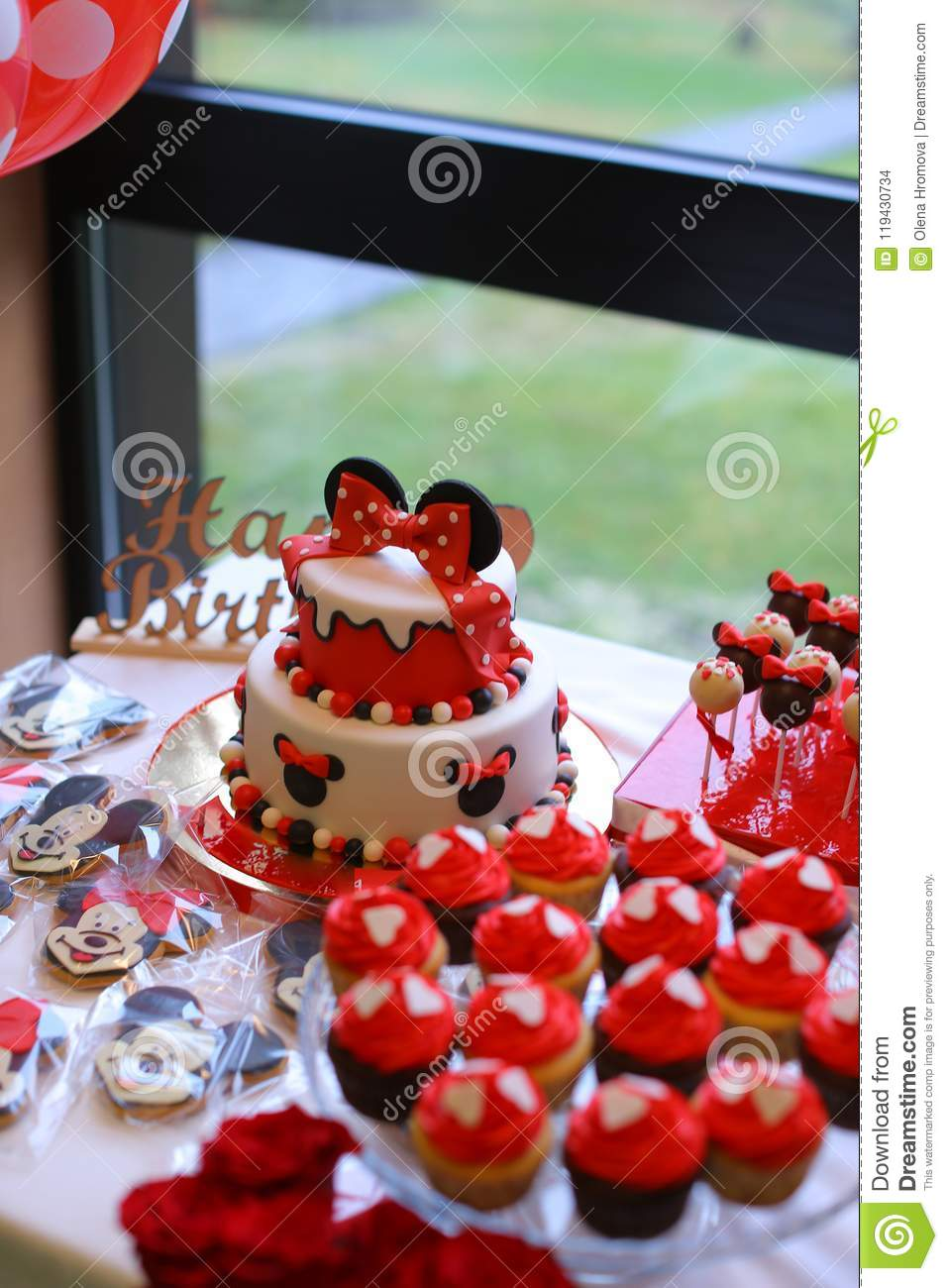Red Mickey Mouse Cakes For Birthday Editorial Stock Image Image