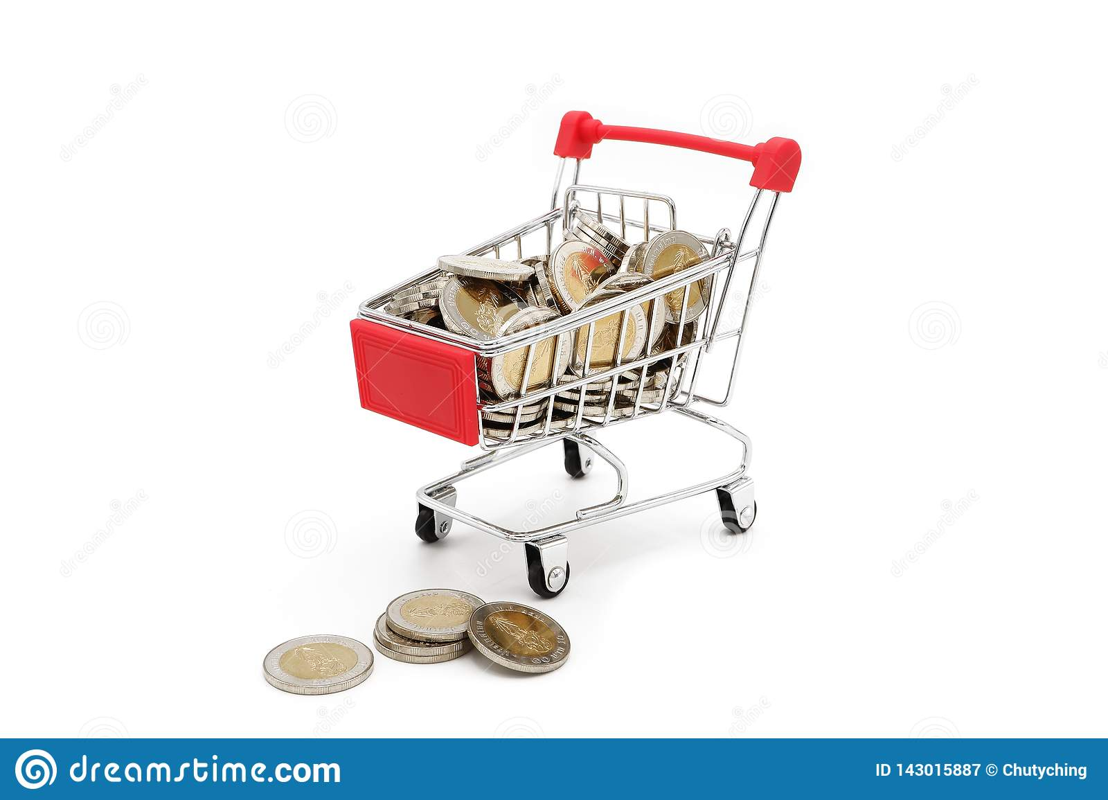 Red miniature shopping cart filled with new 10 Thai Baht coins.