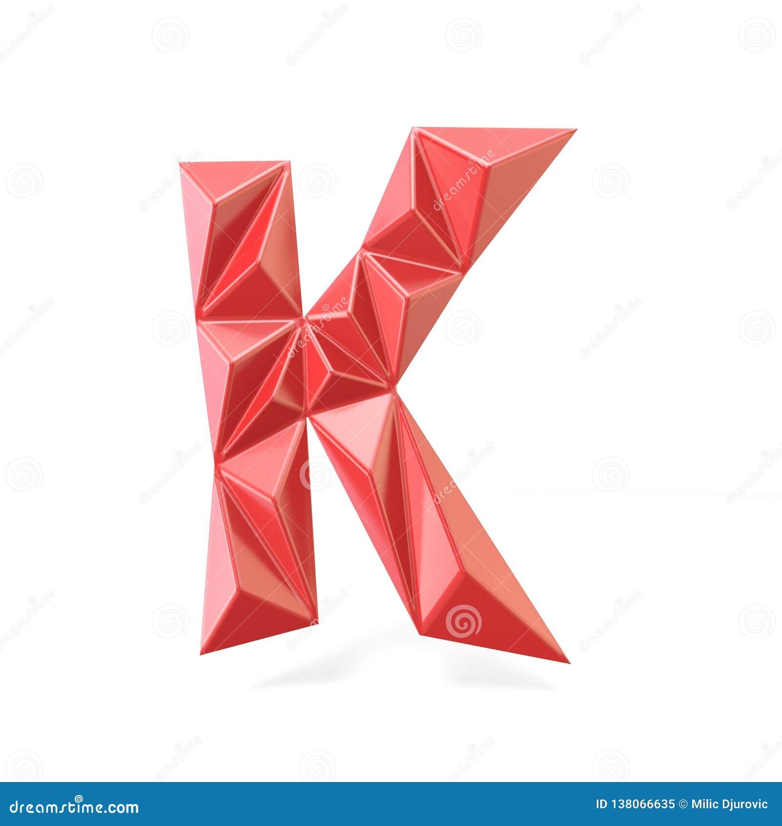 Red Modern Triangular Font Letter K 3d Stock Illustration Illustration Of Crisp Alphabet 138066635