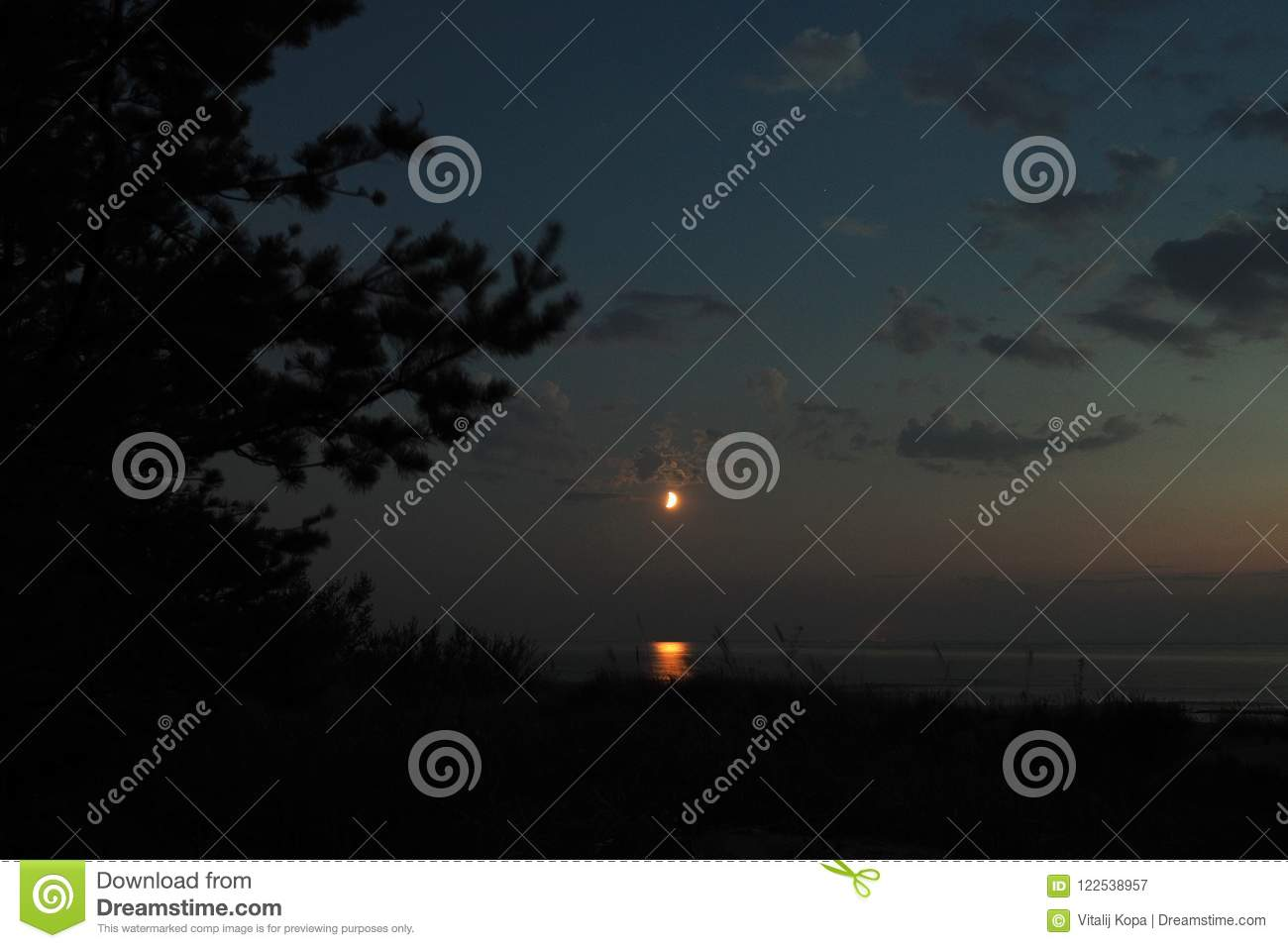 Moon lights and clouds after sunset