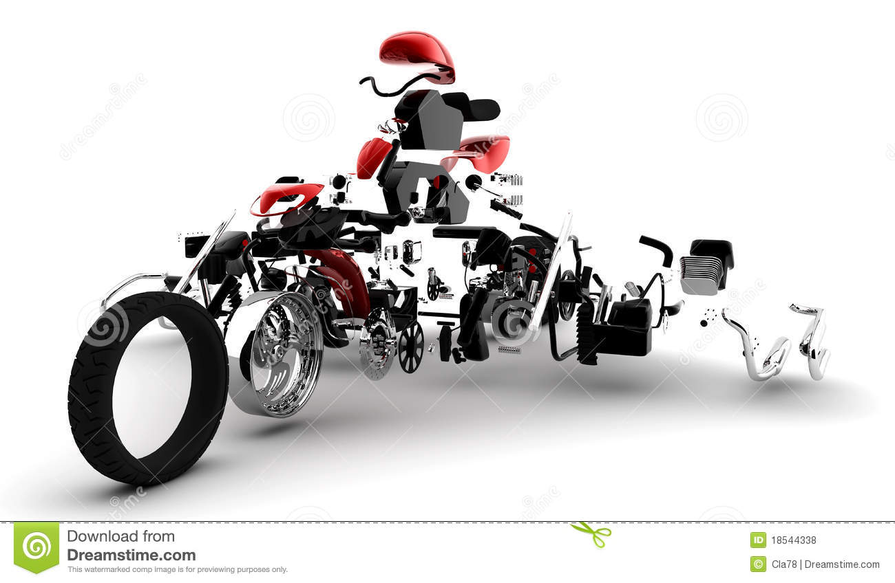 Red motorbike exploded in many parts mr no pr 0 1130