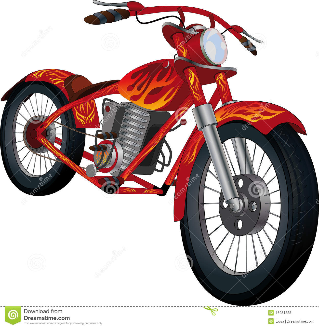 Red Motorcycle With Fiery Drawing Royalty Free Stock