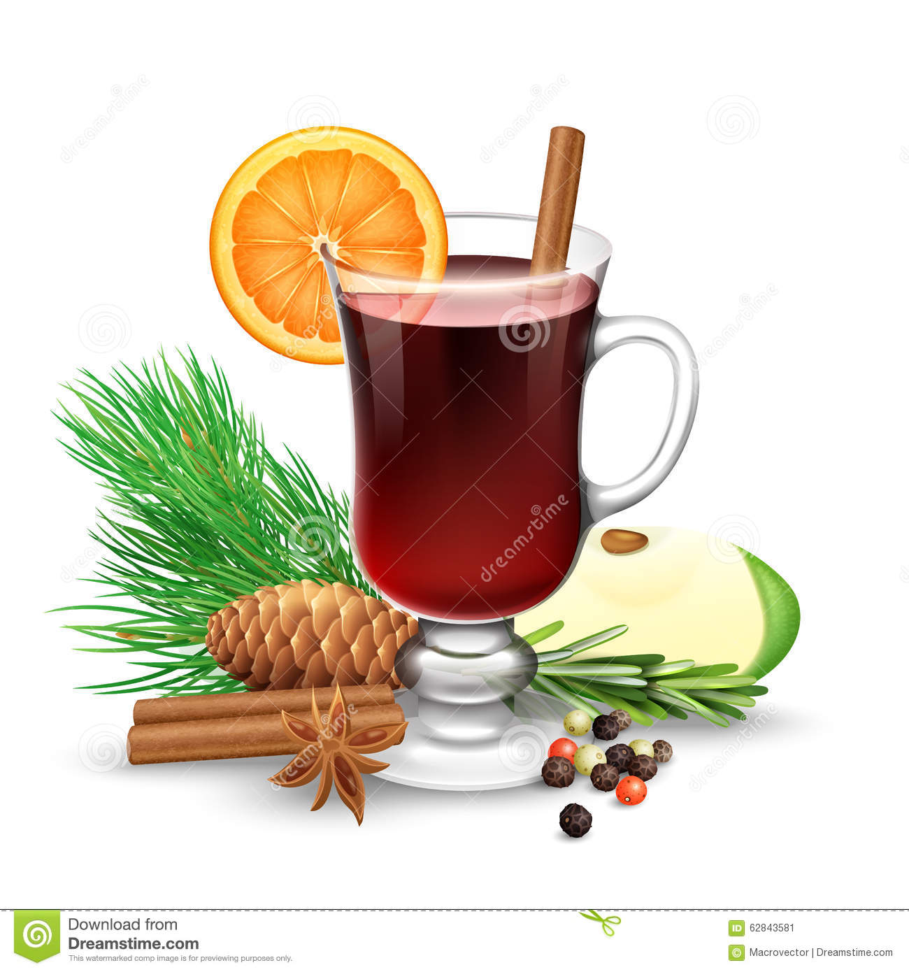 Red Mulled Wine For Winter And Christmas Stock Vector ...