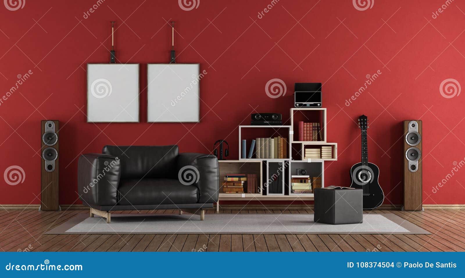 red music room stock illustration illustration of interior 108374504 rh dreamstime com