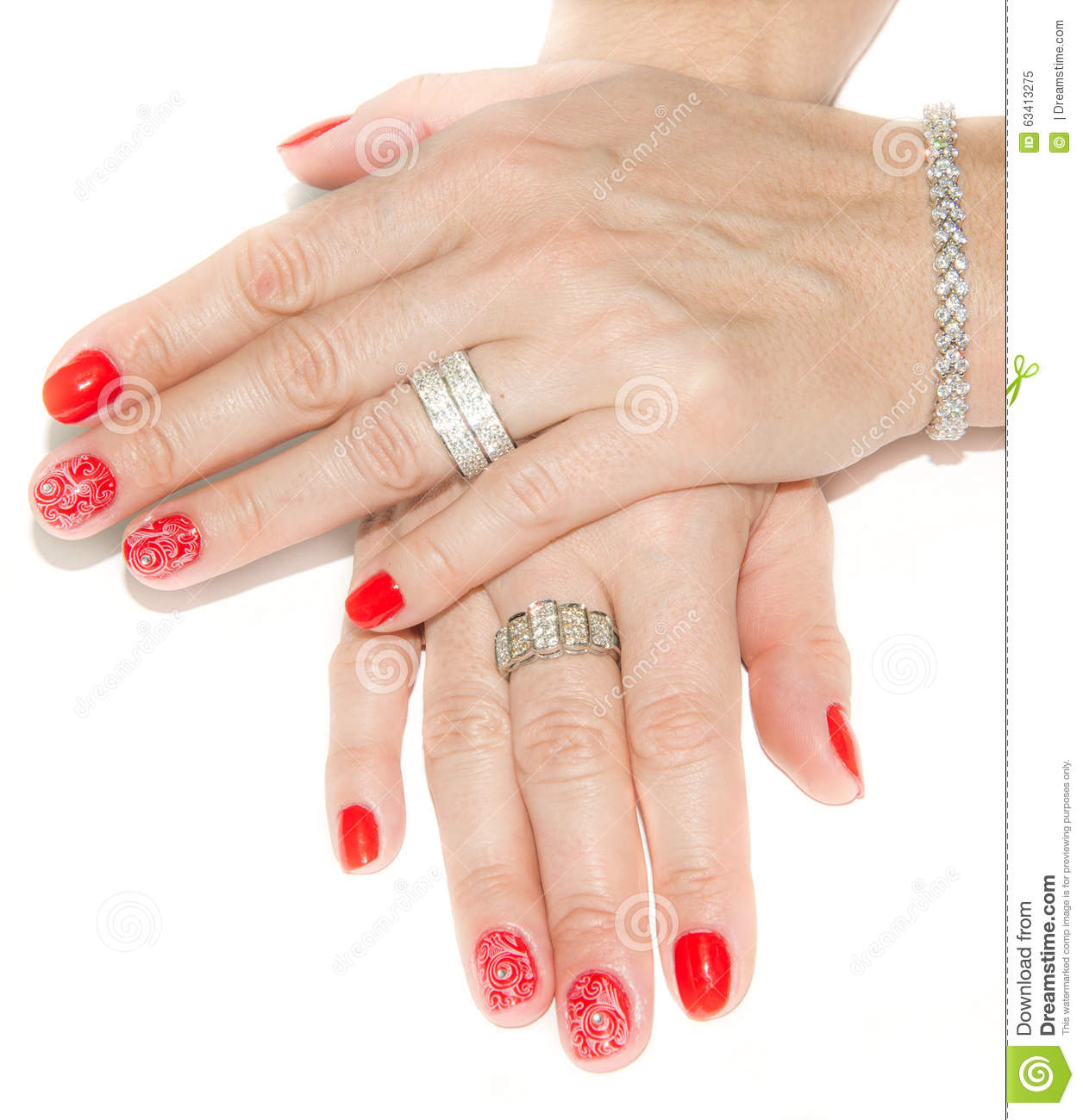 Red Nail Art Design And Diamonds Stock Image Image Of Painted