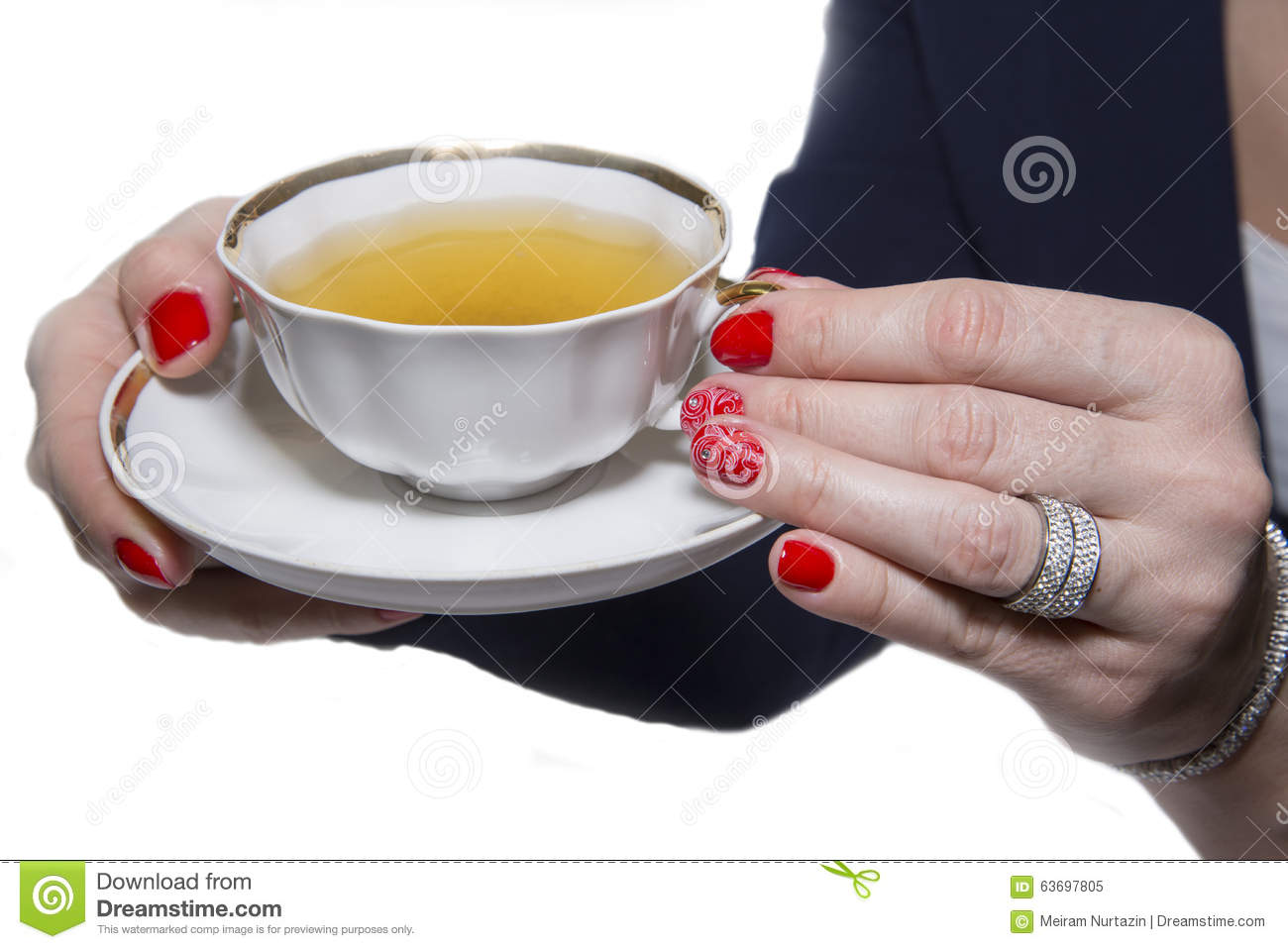 Red Nail Art Manicure And A Cup Of Tea Stock Image Image Of