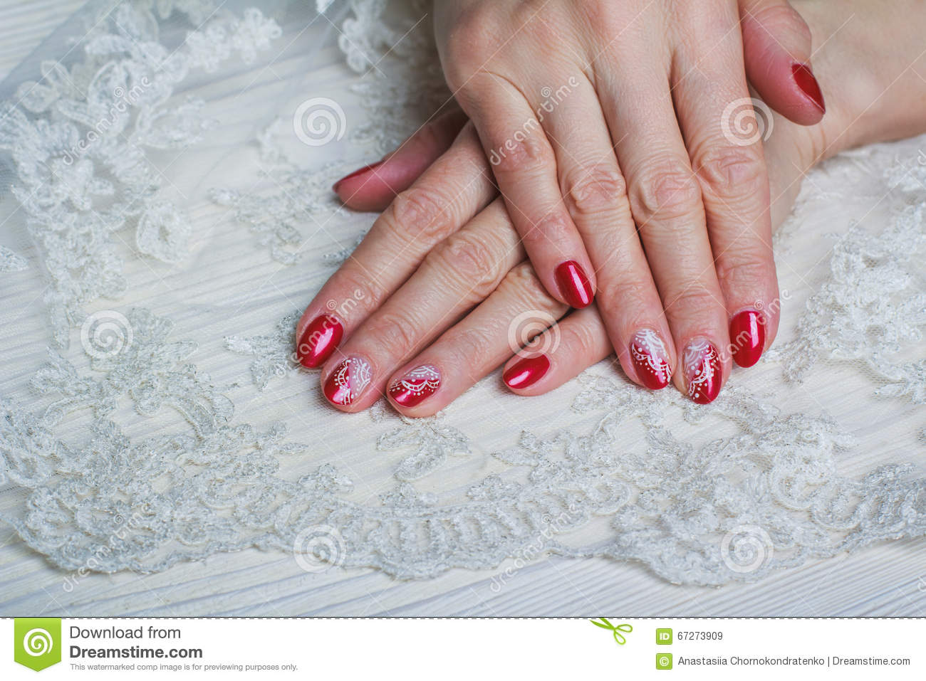 Red Nail Art With White Lace With Dots And Lines Stock Image - Image ...