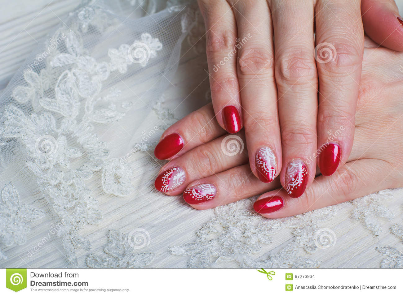 Red Nail Art With White Lace With Dots And Lines Stock Photo Image