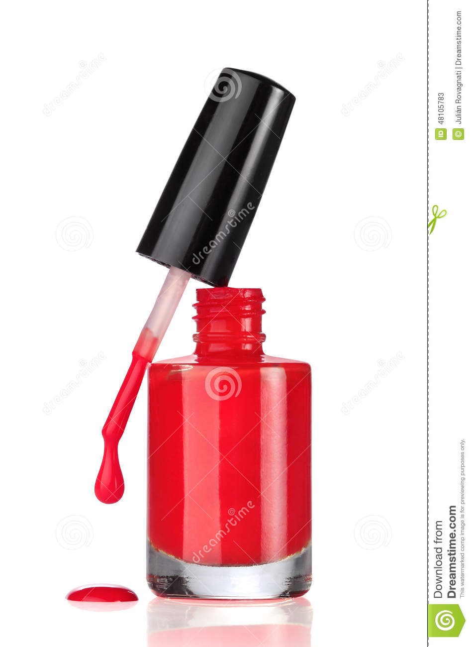 Red Nail Polish Bottle With Drop On White Stock Image ...